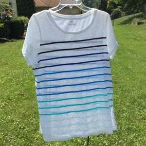 Crown & Ivy Authentic s/s striped white & blue tee
